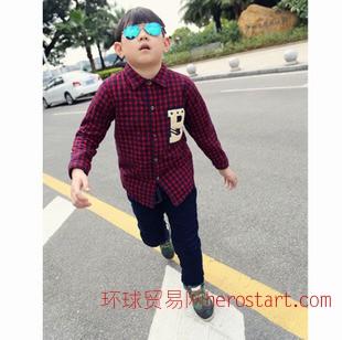 2014冬季新款韩版童装清仓 中小男童加绒加厚格子长袖纯棉童衬衫