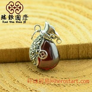 天然水晶石榴石纯银吊坠 泰银 925纯銀饰品 民族风复古首饰