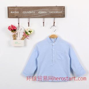 2014新款男童衬衫长袖 日韩简约袖子不对称设计潮款童装衬衫