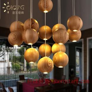 设计师艺术创意灯具酒店餐厅客厅简约实木制吊灯圆球木艺吊灯具