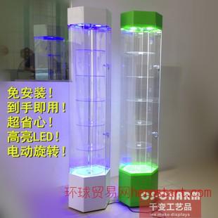 手机壳珠宝样品玻璃旋转展示柜美容化妆品产品精品亚克力展柜货架
