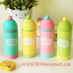 乐悠 日韩卡通双层隔热塑料水杯 厂家直销学生儿童礼品创意随手杯
