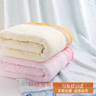 外贸厂家直销特价 提花缎档大浴巾沙滩巾劳保纯棉浴巾70x140