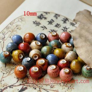 景德镇陶瓷散珠 diy手工编织材料 10mm花釉珠子 复古风