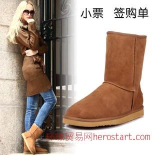 皮毛一体雪地靴 澳洲代购5825冬靴 保暖棉靴批发牛筋底