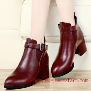 古奇天伦秋季新款皮带扣鞋子 粗跟高跟女单鞋休闲时尚女短靴