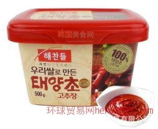 韩国辣酱 进口太阳草好餐得辣椒酱 拌饭酱 炒年糕500g
