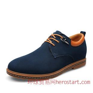 2014秋新款流行休闲男鞋 潮流时尚内增高男鞋单鞋 真皮反绒皮鞋子
