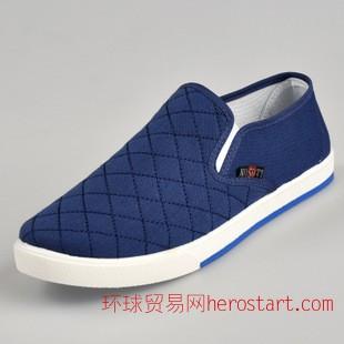 老北京布鞋時尚遛彎開車方格男鞋一腳蹬懶人低幫透氣男鞋