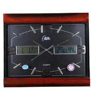 客厅石英挂钟 C2485 带日历温度湿度 静音扫描