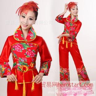 成人秧歌服演出服装秋冬 女民族舞蹈服 扇子广场舞服装新款套装