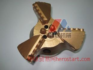 超强型153三翼金刚石复合片钻头,三翼不取芯pdc钻头