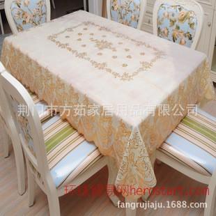 欧式烫金桌布pvc防水防油免洗台布餐桌布烫金连接塑料蕾丝桌布艺