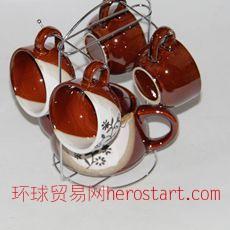 陶瓷咖啡壶五件套 功夫茶具套装 10元店9.9元店货源 日用百货配货