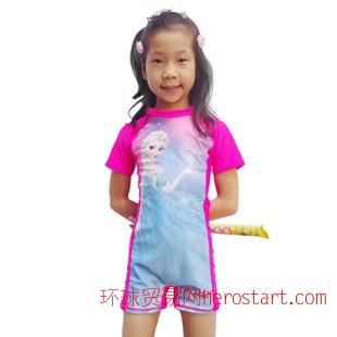 外贸冰雪奇缘泳衣 中童女童迪士尼冲浪衣防晒泳装 儿童泳衣连体