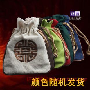 包装布袋 佛珠包装袋 小麻布袋 佛珠袋 多色绣花吉祥如意