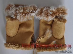 章子怡非常完美兔毛半指手套 女士手套 冬天手套 保暖手套