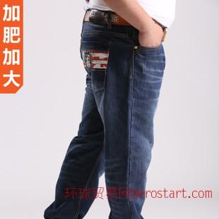 直筒男式牛仔裤 秋冬韩版修身男式牛仔裤 大码男装韩国男式牛仔裤
