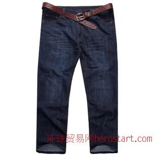 2014新款宽松直筒男式大码牛仔裤男 外贸加肥加大潮大码牛仔裤男