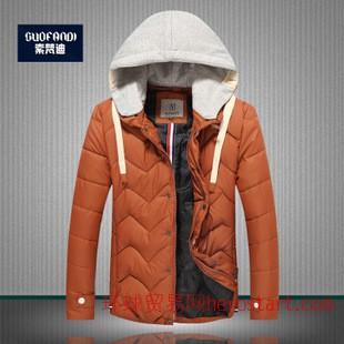 秋冬新款纯色加厚保暖韩版男式棉衣 潮连帽青年男士棉衣外套