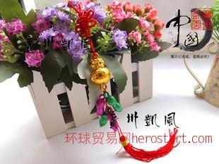 新春喜庆中国结满金袋花生串小挂件 春节开运招财 金桔盆景挂饰品