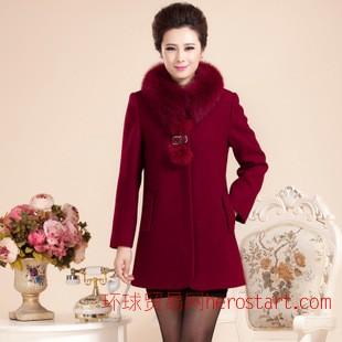 2014秋冬新款中老年羊绒大衣女款中长款修身狐狸毛球毛领呢外套女