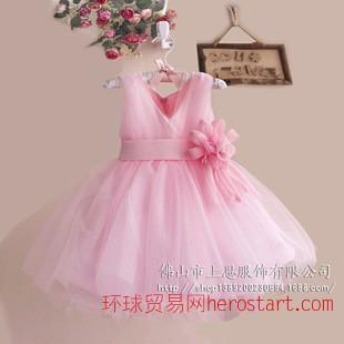 儿童礼服 厂家批发花童礼服网纱V领礼服玫瑰花+珍珠装饰腰带礼服