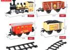 中國經典火車系列黑色蒸汽機車仿真比例電動軌道火車模型玩具套裝