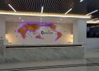2019公司前台形象墙时尚特色装饰 公司外贸网点显示地图屏