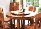 实木圆餐桌组合 胡桃木家具餐桌餐椅套装胡桃木圆桌转盘一桌六椅