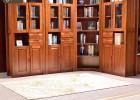 实木书柜 胡桃木书房家具中式书架带门书橱9803组合书柜