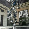 海洋生物不锈钢鲨鱼雕塑 抽象镜面鲨鱼摆件 水景鱼跃雕塑