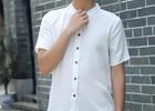 宸贤新款棉麻男短袖V领修身纯色透气商务休闲青年衬衫