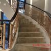 仿铜雕刻铝艺栏杆 镀真铜高档楼梯护栏