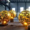 酒店镂空灯火球雕塑 不锈钢花型镂空球雕塑喷泉