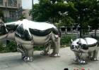 不锈钢犀牛雕塑,镜面不锈钢动物雕塑