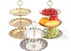 二层糕点心水果盘 贡盘 银色两层盘子 镀金银碟盘 工艺糖果盘