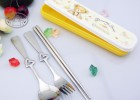 创意可爱不锈钢叉勺筷西餐牛排刀叉筷环保便携式餐具筷勺叉三件套