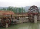 鄂州园林景观水车,防腐木脚踏水车,景观吊桥浮桥拱桥生产厂家