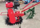 履带式小型手扶微耕机翻地视频 单链轨施肥播种微耕机