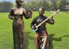 铜雕公园人物吹拉弹唱、弹奏乐器雕塑