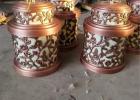 锻铜镂空圆桶、公园铜雕摆件