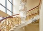 会所楼梯铝艺护栏扶手 金色铝合金楼梯护栏