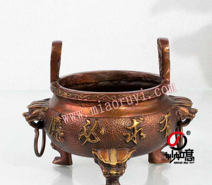供应6寸铜有求必应招财进宝香炉铜香炉摆件插香香炉