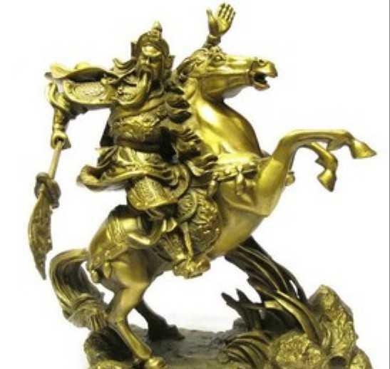 供应开光纯铜1.3尺关公骑马摆件 武财神旺财辟邪镇宅化煞