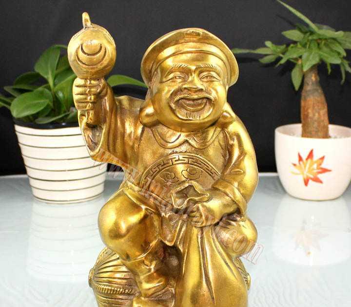 供应李居明吉祥物8寸铜大黑天财神摆件佛教第一财神