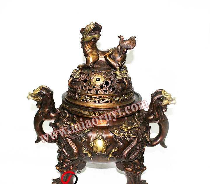供应30公分纯铜天狗炉铜大明香炉铜盘香炉铜炉天狗熏香炉