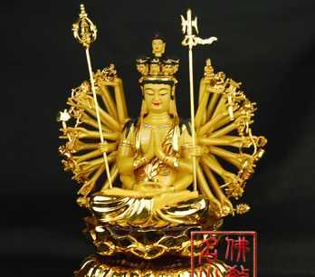 【名山佛教用品】17寸坐千手观音/佛像/铜鎏金