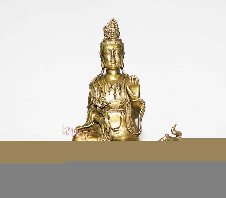 供应8.8寸纯铜文殊菩萨摆件佛像 四大名山菩萨兔人守护神