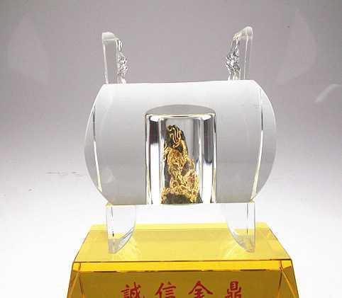 漆线水晶金石 诚信金鼎水晶 现代新创意艺术品 高级办公室摆件